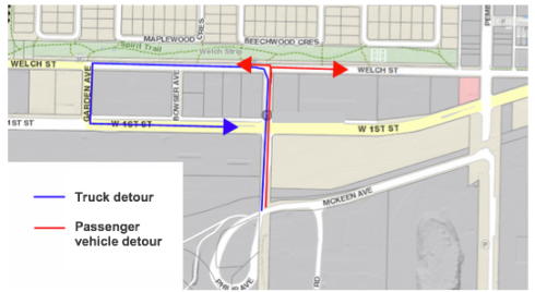 West 1st Street and Philip Avenue Detour Routes